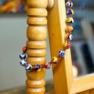 "Vintage Murano Millefiori Glass Art Bead Choker Necklace, Colorful Venetian Glass Bead Necklace, 18"" Italian Art Glass Bead Necklace by shopGoodsVintage"