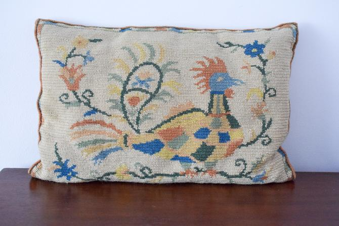 Vintage Peacock Needlepoint Lumbar Pillow by CapitolVintageCharm