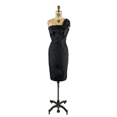 one off   vintage 1950s 1960s silk cocktail dress   one shoulder   lbd   vtg 50s 60s silk party dress   m/l   medium/large by danevintage