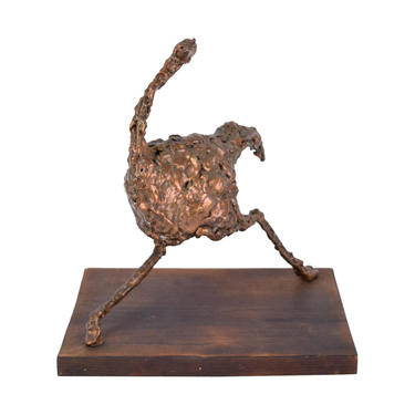 Vintage Mid-Century Modern Brutalist Abstract Running Ostrich Sculpture by PrairielandArt