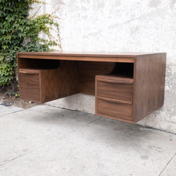 Handmade Walnut Floating Desk