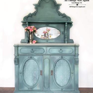 Victorian Buffet Sideboard | Antique Sideboard Painted | Vintage Duck Egg Blue Buffet Sideboard | Fancy Ornate Buffet China Cabinet | Hutch by AllThingsNewAgainVA