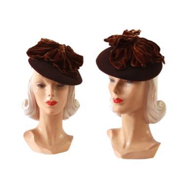 1940s Brown Tilt Hat - 1940s Velvet Tilt Hat - 1940s Tilt Hat - Vintage Brown Hat - Vintage Tilt Hat - 1940s Womens Hat - 1940s Brown Hat by VeraciousVintageCo