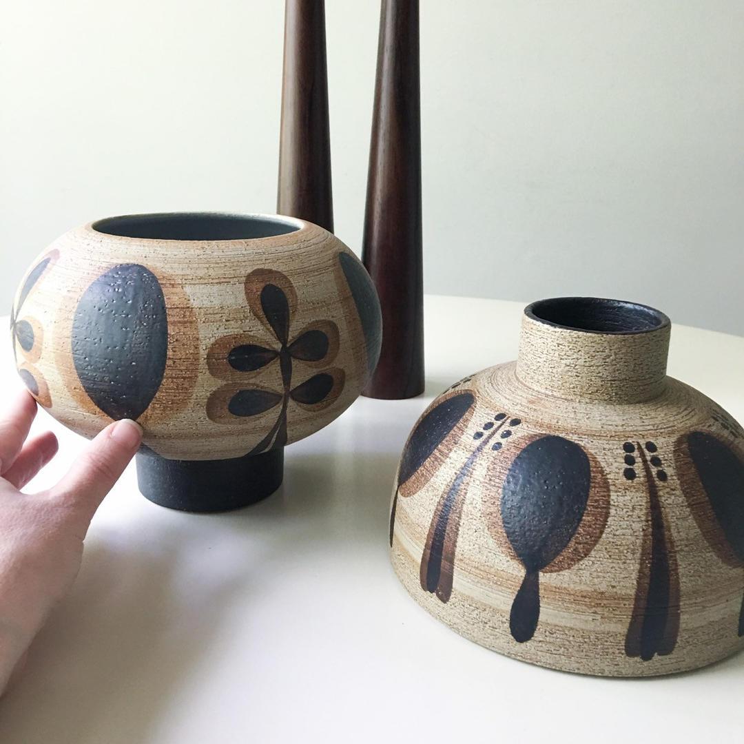 Amazing Ornate Studio Pottery Set Vintage Danish Mid