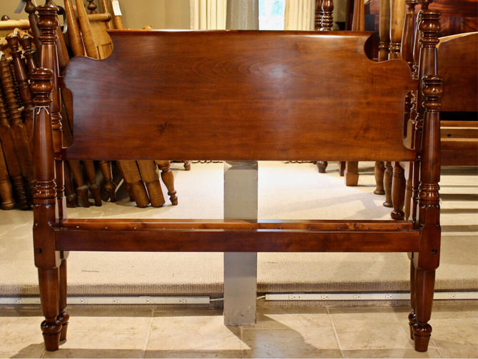 Tulip Top Bed in Maple, Original Posts Circa 1830, Resized to Queen with Bend-back Headboard