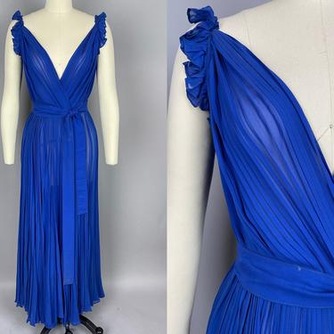1930s Sheer Cobalt Blue Gown   Vintage 30s 40s Pleated Chiffon Dress with Belt   medium / large by RelicVintageSF