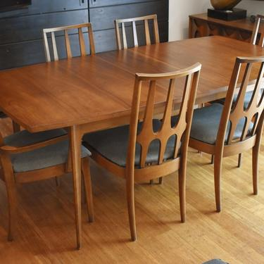 """Newly-restored Broyhill Brasilia extendable dining set - 102"""" long (table, custom pads, six chairs w/new upholstery) by MidCenturyClever"""