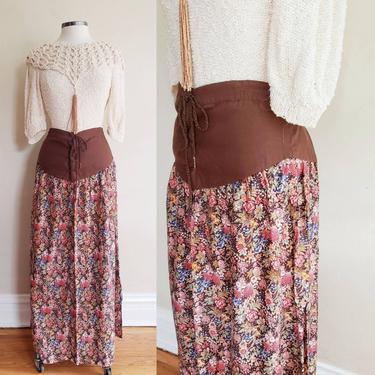 1970s Brown Floral Print Maxi Skirt Corset Waist Lace Prairie Style / 70s Maxi Skirt Midopa Korea Cottagecore  / L or XL Plus Size by RareJuleVintage