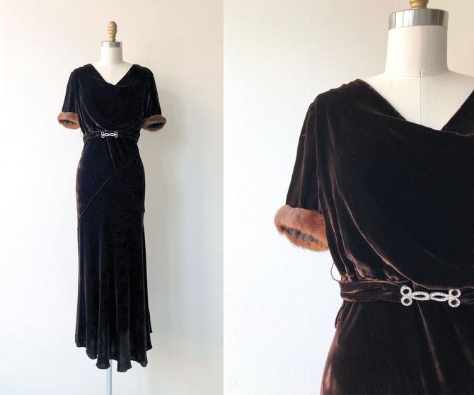 Contralto silk velvet dress   1930s dress   silk velvet 30s dress by DEARGOLDEN