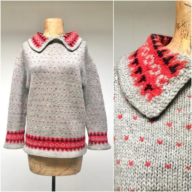 """Vintage 1950s Hand-Knit Nordic Sweater, Gray Wool Pullover, Medium 40"""" Bust by RanchQueenVintage"""