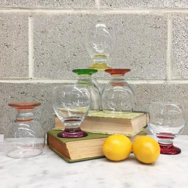 Vintage Whiskey Glass Set Retro 1990s Contemporary + Set of 6 + Assorted Colors + Cocktail Glasses + On the Rocks + Home and Bar Decor by RetrospectVintage215