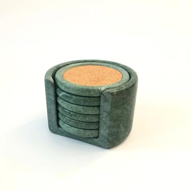 Vintage Green Stone Coaster Set / Set of 6 Coasters in Holder by SergeantSailor