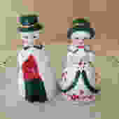 Vintage  Country Carolers People Bell Figurine of Girl and Boy Red and Green- Christmas Bells by JoAnntiques