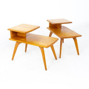 Heywood Wakefield Mid Century Step Side Tables - A Pair - mcm by ModernHill