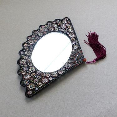 Vintage FAN shape wall mirror Floral enamel rhinestone vanity tray Tassel wall decor Trinket tray Bathroom or bedroom decor Ornate mirror by BelleCosine