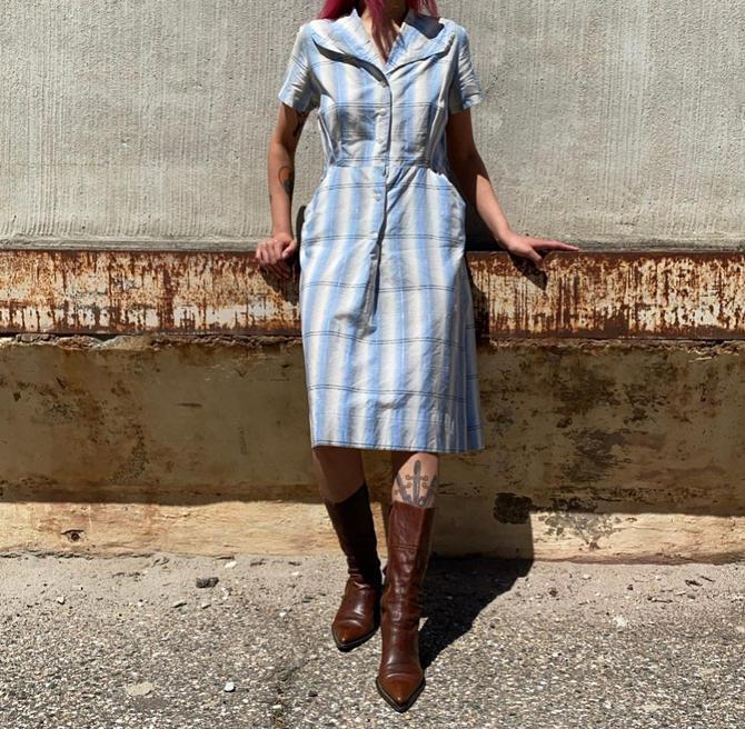 1940s Blue Plaid Folk Shirt Dress by milkandice