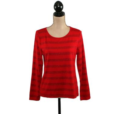 Long Sleeve Red Sparkly Top, Knit Metallic Striped Shirt Women Medium Petite, Scoop Neck Blouse Holiday Clothes Y2k Vintage Clothing Talbots by MagpieandOtis