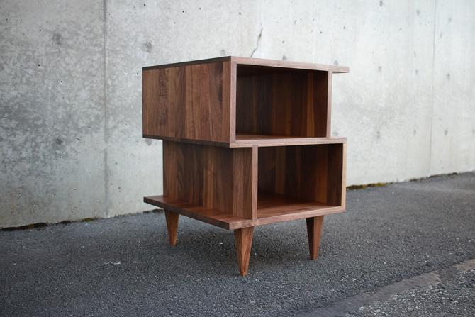 OFFSTACK End Table, Geometric Night Stand, Stacked Offset Nightstand, Wood Offset End Table (Shown in Walnut) by TomfooleryWood