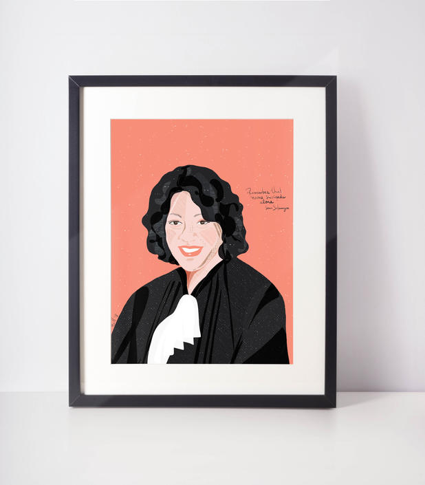 Sonia Sotomayor - Supreme - Latin female icons - Celebrity Portraits -  Cubicle- Office-  Home Decor- Girl Power - Fan Art by VioletredStudio