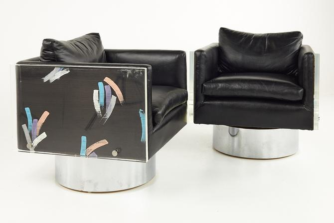 Leon Rosen for Pace Style Post Modern Lucite Cube Lounge Chairs - mcm by ModernHill