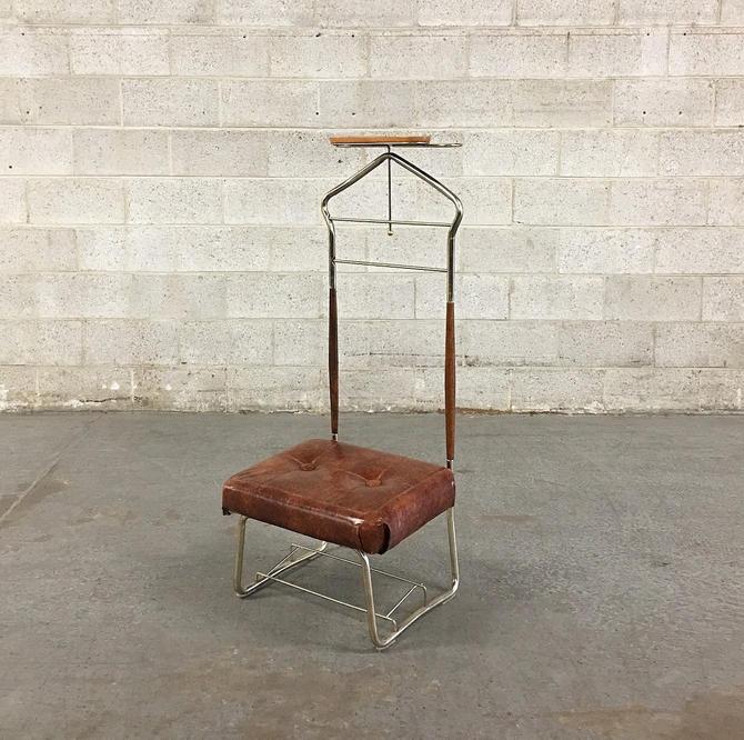 Vintage Butlers Chair Retro 1960s Pearl-Wick Valet Stand Mid Century Modern + Metal + Brown Vinyl + Brown Wood + MCM Seating + Home Decor by RetrospectVintage215