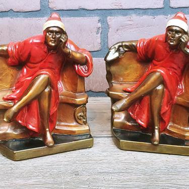 Art Deco Galvano Dante Metal Bronze Bookends by RedsRustyRelics