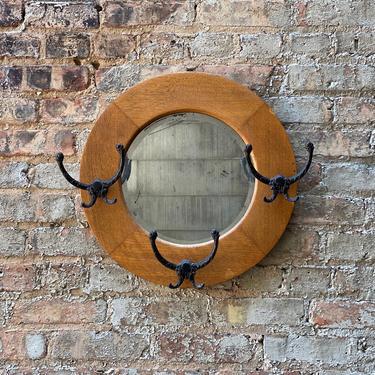 Antique Round Oak Coat Rack Mirror Cast Iron Hooks by NorthGroveAntiques