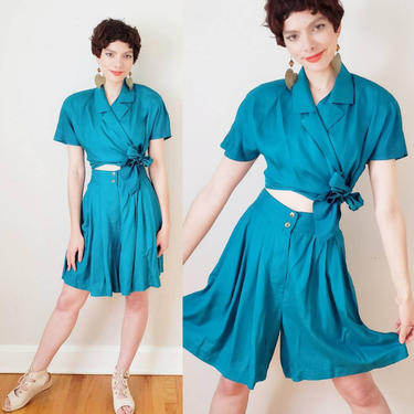 1980s Turquoise Blue Silk Shorts and Shirt Set / 80s High Waisted Shorts Button Down Cropped Blouse EPB Easy Eleanor Brenner / Med by RareJuleVintage