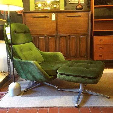 Swedish-Made Overman Lounge Chair and Ottoman with Green Velour Upholstery ($485); Broyhill Drop Leaf Cabinet ($825)