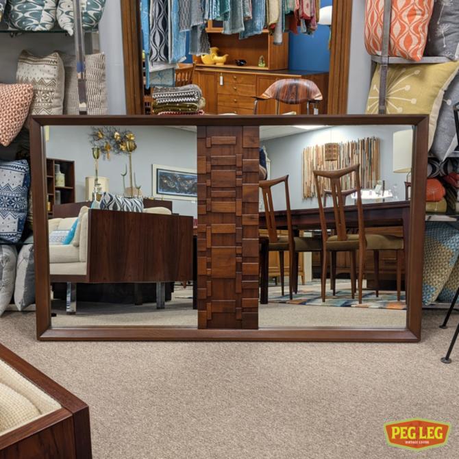 Mid-Century Modern brutalist walnut mirror