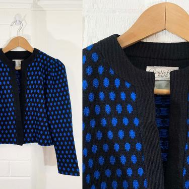Vintage Leslie Fay Petites Cardigan Open Front Sweater 80s Black Blue Polka Dot 1980s Long Sleeved Knit USA Mid-Century Cropped Small XS by CheckEngineVintage