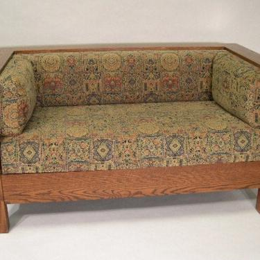 Mission Arts and Crafts Stickley Style Prairie Panel Settle Loveseat by DaleMartinFurniture