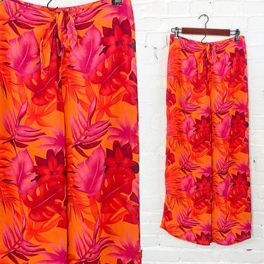 1990s Orange Hawaiian  Print Slacks | 90s Orange & Pink Tropical Pants | Petra Fashions | XL by GlennasVintageShop