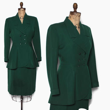 Vintage 40s Forest Green Gab Suit / 1940s Tailored Green Wool Gabardine Blazer Jacket & Pencil Skirt Set by LuckyDryGoods