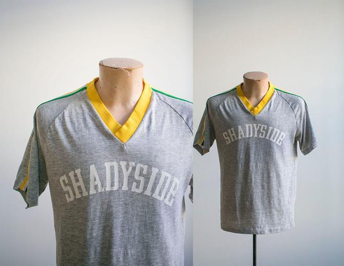 Vintage 1970s Tshirt / Vintage Athletic Tee / Vintage Shady Side Tshirt / Vintage Swingster Tee / Vintage Raglan Tee Large / 1970s Tshirt by milkandice