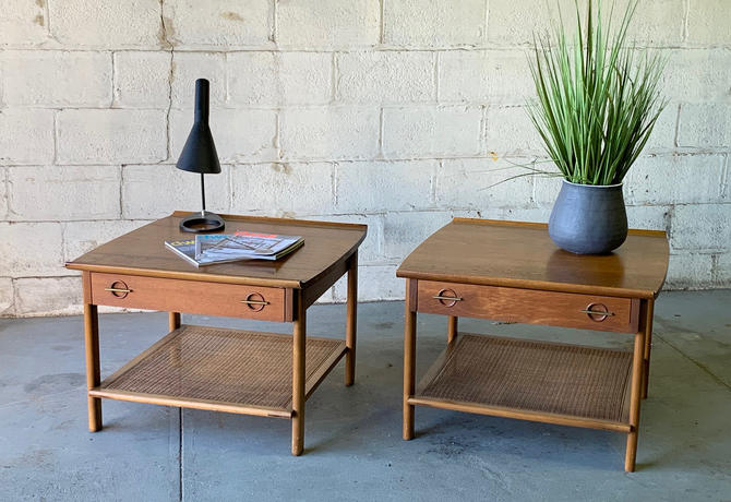 Mid Century Modern Caned WALNUT END TABLES / Side Tables by Lane Furniture by CIRCA60