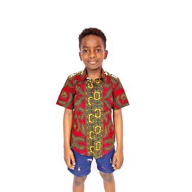 Boys button down short sleeve Ankara shirt (Red and brown) by GLAMMfashions