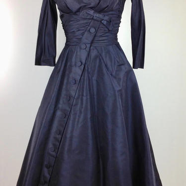 1950's Taffeta Formal / Deep Purple / Cocktail Dress / Nipped Waist Full Skirt /Old Hollywood / Size Small to Medium by GabrielasVintage