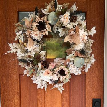 Boho Neutral Fall wreath with blush leaves dusty blue pumpkins and sunflowers, Mini pumpkins and Wheat Wreath by NovaWreaths