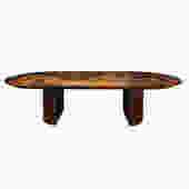 Karl Springer Exceptional Dining Table in Lacquered Goatskin 1980