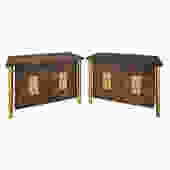 Mastercraft Pair Of Luxurious Bedside Tables In Carpathian Elm And Brass 1960s