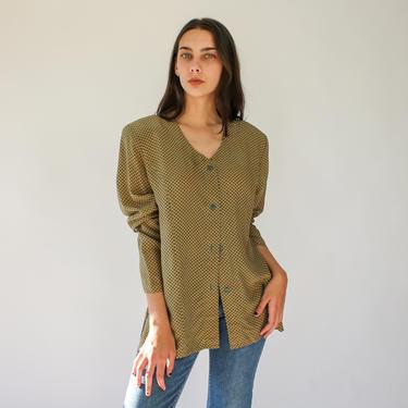 Vintage 80s Annie Alexander Sage Green and Khaki Geometric Floral Print Silk Blouse   100% Silk   1980s Boho Silk Broad Shoulder Shirt by TheVault1969