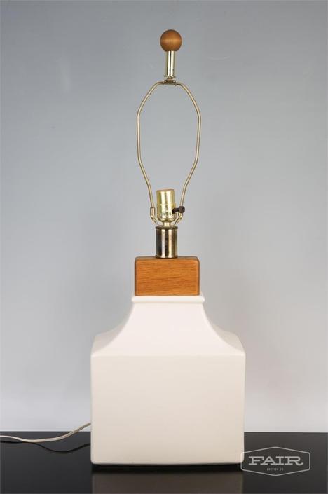 White Ceramic and Teak Lamp