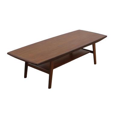 Danish Modern Teak Splayed Leg Curved Coffee Table w / Shelf