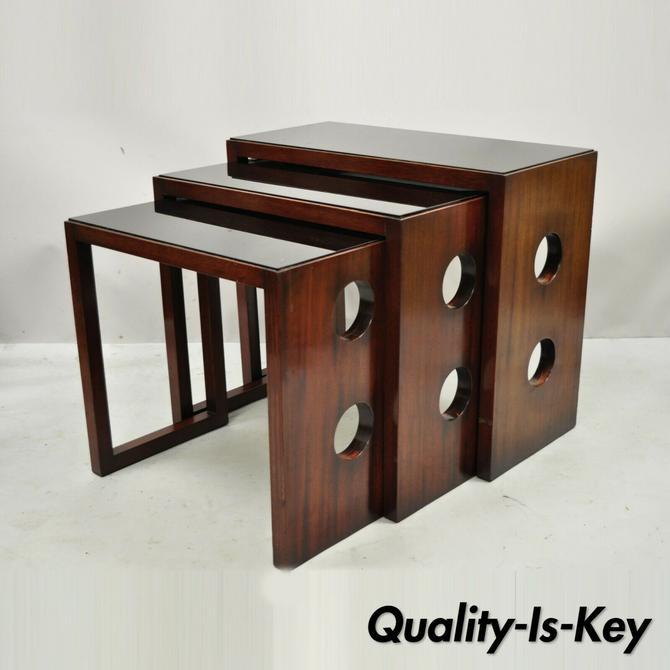 James Mont Mid Century Modern Mahogany & Glass Top Art Deco Nesting Side Tables