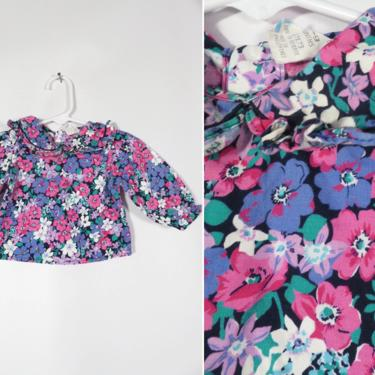 Vintage 80s Baby Girls Floral Frilly Peter Pan Collar All Cotton Button Back Top Size 6-9M by VelvetCastleVintage