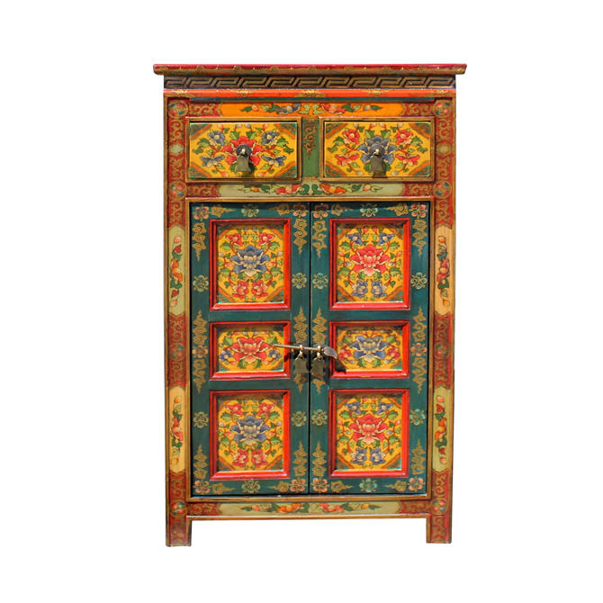 Orange Yellow Teal Tibetan Floral End Table Nightstand Cabinet cs5755E by GoldenLotusAntiques