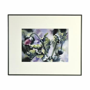 Winifred Godfrey Signed Original Watercolor Painting Budding Flower by PrairielandArt