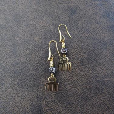 Afro pick earrings, adinkra symbol earrings, beauty earrings, bold statement earrings, Afrocentric earrings, comb earrings, brass earrings by Afrocasian