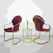 1970's Italian Brass & Red Velvet Dinette Chair